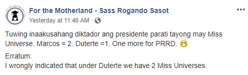 Screenshot of Sasot's Facebook