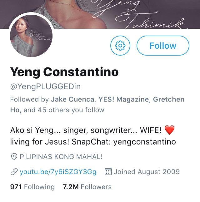 Yeng Constantino Twitter Screenshot