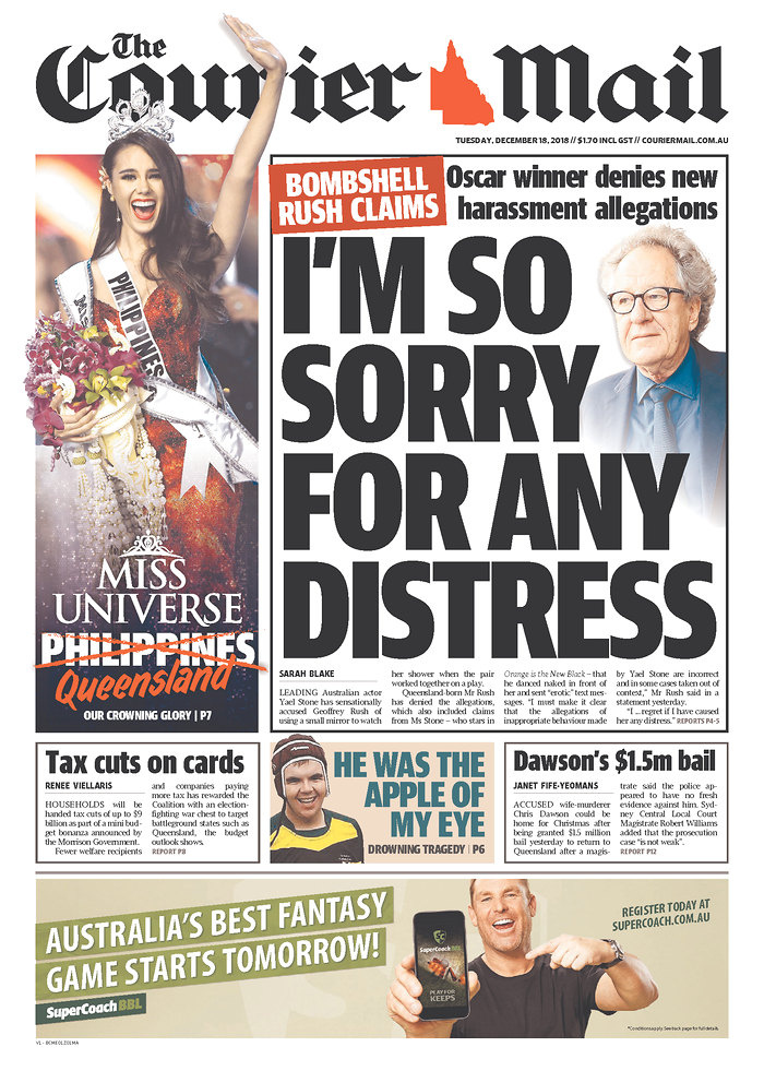 Catriona Gray on the Courier Mail's front page