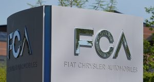 A Fiat Chrysler Automobiles sign is seen at the U.S. headquarters in Auburn Hills, Michigan,