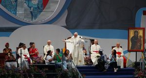 Pope Francis speaks during the opening ceremony for World Youth Day at the Coastal Beltway in Panama City