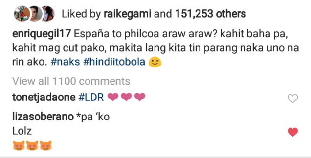 Screen Shot of Liza Soberano's comment