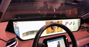 The interior of Byton's M-Byte electric vehicle, featuring a massive screen, is shown after the vehicle's unveiling during the 2019 CES in Las Vegas