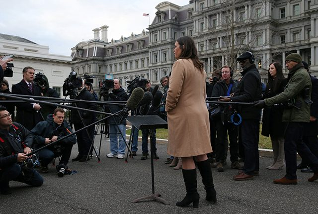 White House Press Secretary Sarah Huckabee Sanders speaks with the news media at the White House in Washington, U.S.