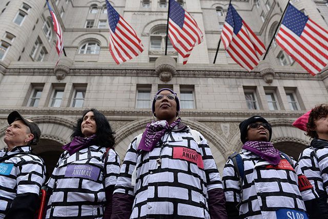 Women wear wall protest outfits as they stand in front of the Trump International Hotel while participating in the Third Annual Women's March in Washington