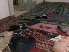 Bloodstains and debris on the floor after a grenade attack on a mosque in Zamboanga