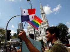 Members of the LGBT community take part in a Kissathon to demand equal rights for LGBT on the sidelines of Pope Francis' visit to Panama City