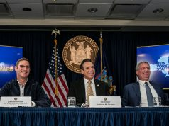 Vice President of Global Real Estate and Facilities from Amazon Schoettler, New York Governor Cuomo and New York Mayor Blasio speak during a news conference about Amazon's headquarters expansion to Long Island City in the Queens bo