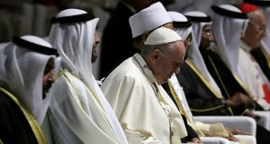 Pope Francis is seen during a visit to the Founder's Memorial in Abu Dhabi