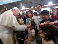 Pope Francis visits the St Joseph's Cathedral in Abu Dhabi