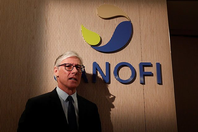 Olivier Brandicourt, CEO of Sanofi, addresses the annual news conference of Sanofi at the company's headquarters in Paris