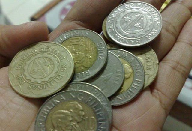 Ten peso coins