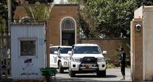 The convoy of Danish Major General Michael Anker Lollesgaar leaves the Sanaa airport