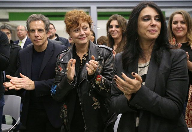 U.S. actor Ben Stiller, actress and social activist Susan Sarandon and Lebanese actress and director Nadine Labaki clap after the screening of the documentary in Beirut