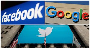 A combination photo from files of Facebook Google and Twitter logos