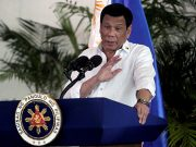President Rodrigo Duterte speaks after his arrival in Davao