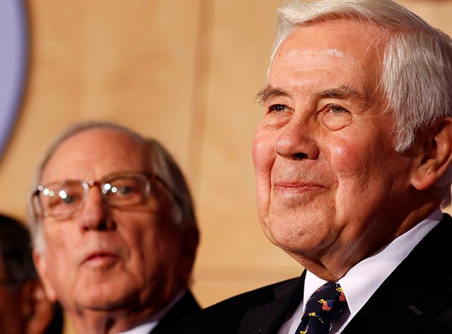 FILE PHOTO: U.S. Senator Richard Lugar listens at the National Defense University in Washington