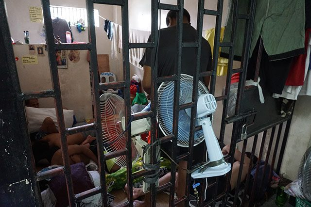 Suspects in online child-sex abuse cases await trial in a cell at national police headquarters in Metro Manila, the Philippines, April 4, 2019. Thomson Reuters Foundation/Matt Blomberg