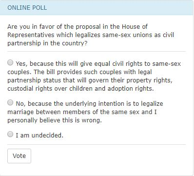 Congress same-sex union poll