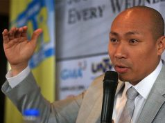 Gary Alejano gestures while speaking