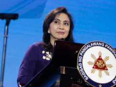 Leni Robredo in a podium