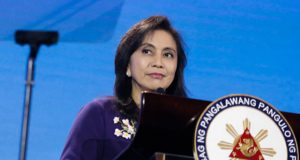 Leni Robredo in a podium