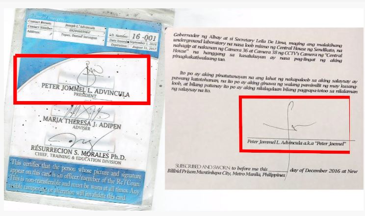 Screenshot of Bikoy's ID with signature