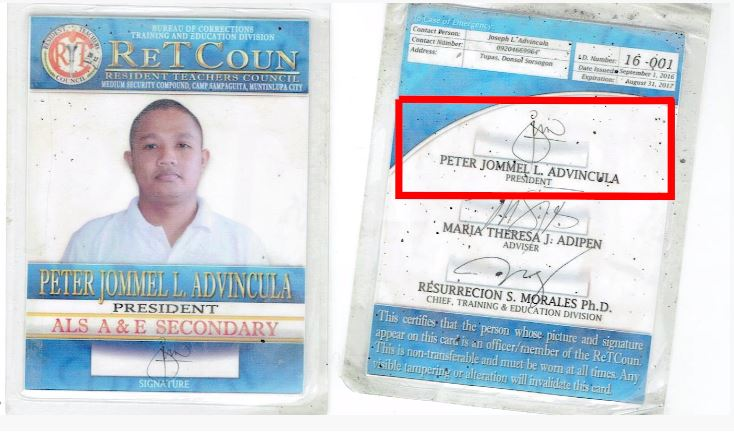 Screenshot of Bikoy's front ID with signature