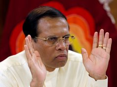 Sri Lanka's President Sirisena speaks during a meeting with Foreign Correspondents Association at his residence in Colombo