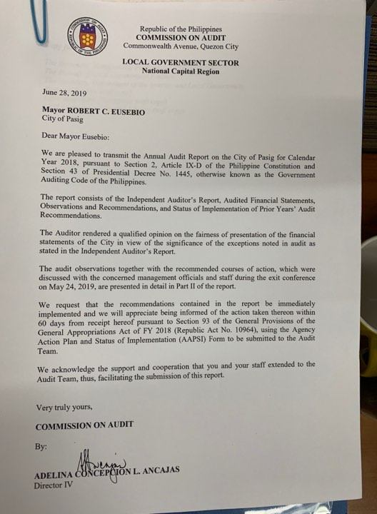 COA Annual Audit Report of Pasig City