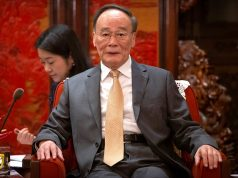 Chinese Vice President Wang Qishan speaks during a meeting with Malaysia's Deputy Prime Minister Wan Azizah Wan Ismail at the Zhongnanhai Leadership Compound in Beijing