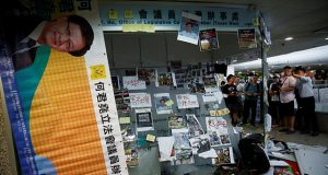 The office of pro-China lawmaker Junius Ho is seen destroyed by anti-extradition supporters in Hong Kong