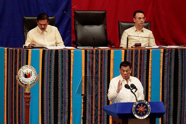 Sotto, Duterte, Cayetano during SONA 2019