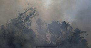 A fire burns a tract of Amazon jungle as it is cleared by loggers and farmers behind a soccer field near Porto Velho