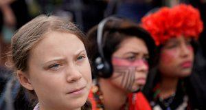 SIxteen year-old Swedish climate change activist Greta Thunberg at the Supreme Court in Washington