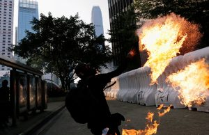 An anti-government protester in Hong Kong