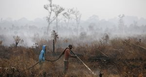 Indonesian workers extinguish the fire at a palm oil plantation at the Pampangan district in Ogan Komering Ilir