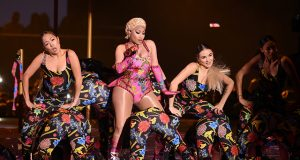 Singer Nicki Minaj performs at the 2018 MTV Europe Music Awards at Bilbao Exhibition Centre in Bilbao