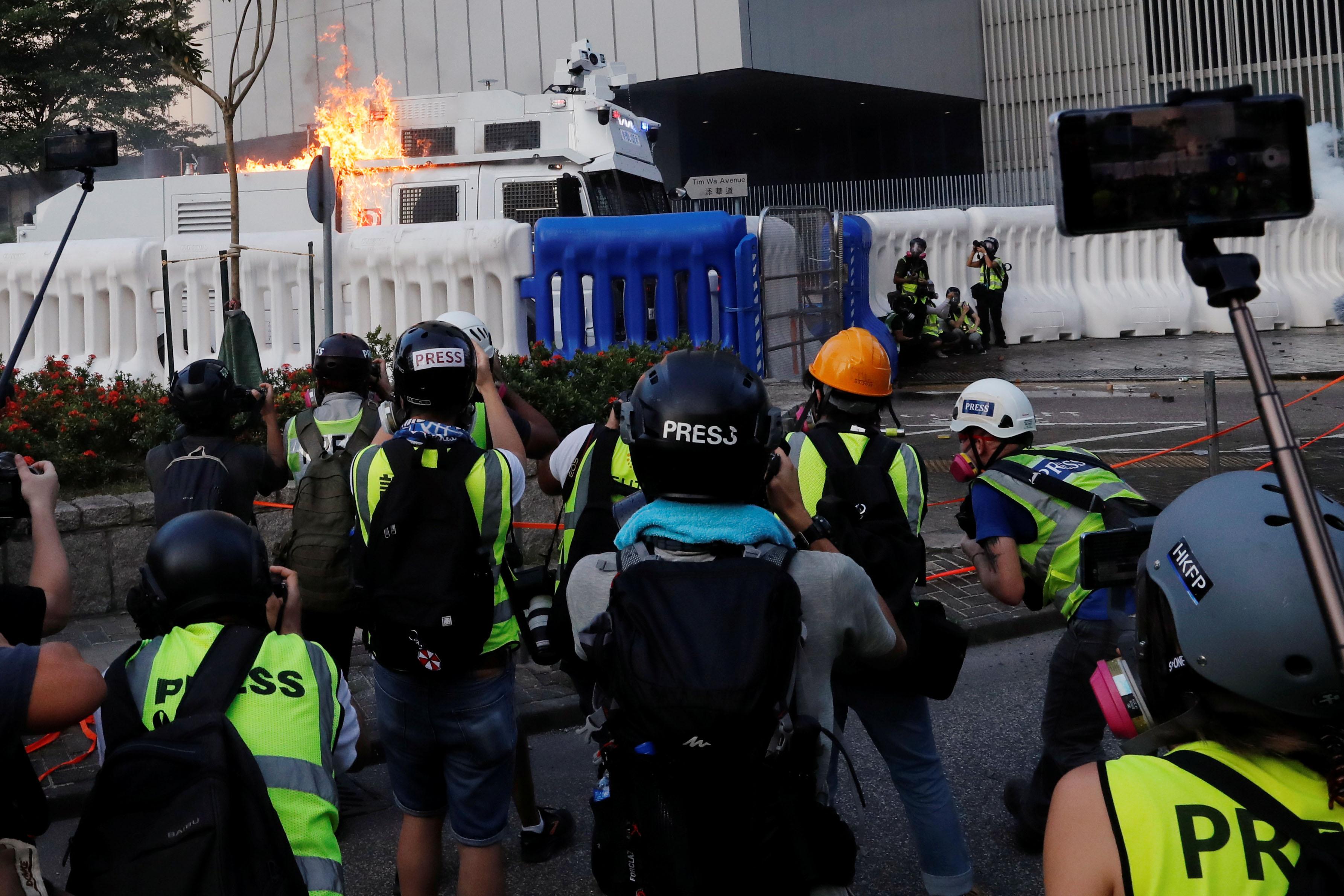 Press covering Hong Kong protest