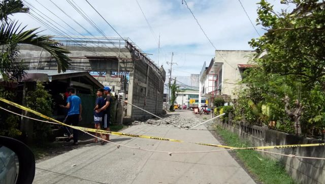 Social media image of damage from an earthquake in Digos City