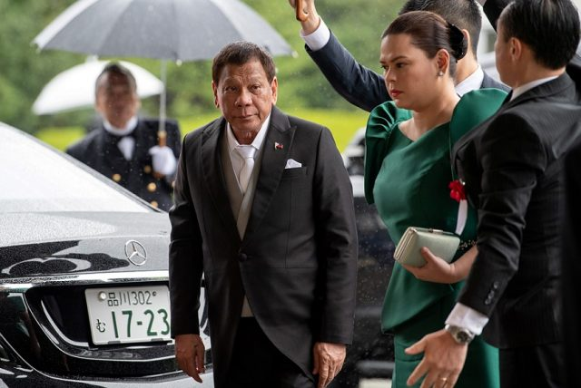 President Rodrigo Duterte arrives to attend the enthronement ceremony of Japan's Emperor Naruhito in Tokyo