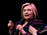 """Former U.S. Secretary of State Hillary Clinton speaks during an event promoting """"The Book of Gutsy Women"""" at the Southbank Centre in London"""