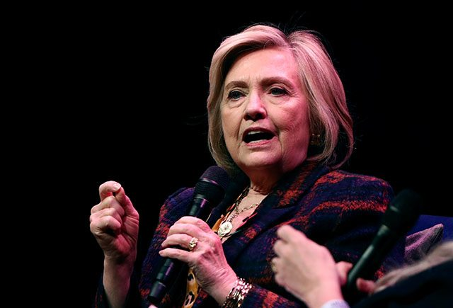 Former U.S. Secretary of State Hillary Clinton speaks during an event promoting