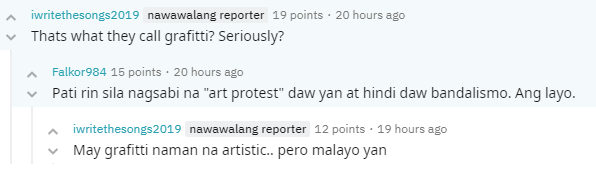 Comment vs lagusnilad vandalism