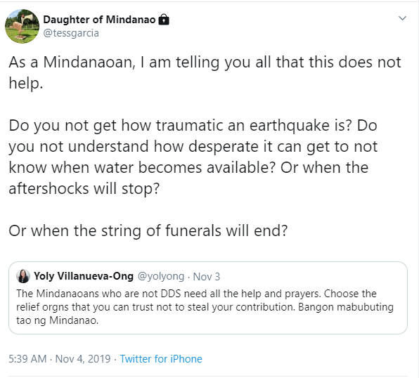 Daughter of Mindanao tweet
