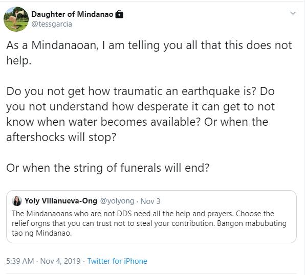 Daughter of Mindanao tweet