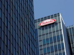 Takeda Pharmaceutical Co's logo is seen at its headquarters in Tokyo