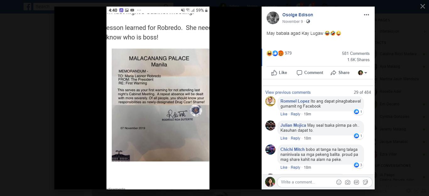 Leni Robredo fake memo