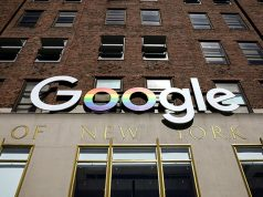 Google logo in New York