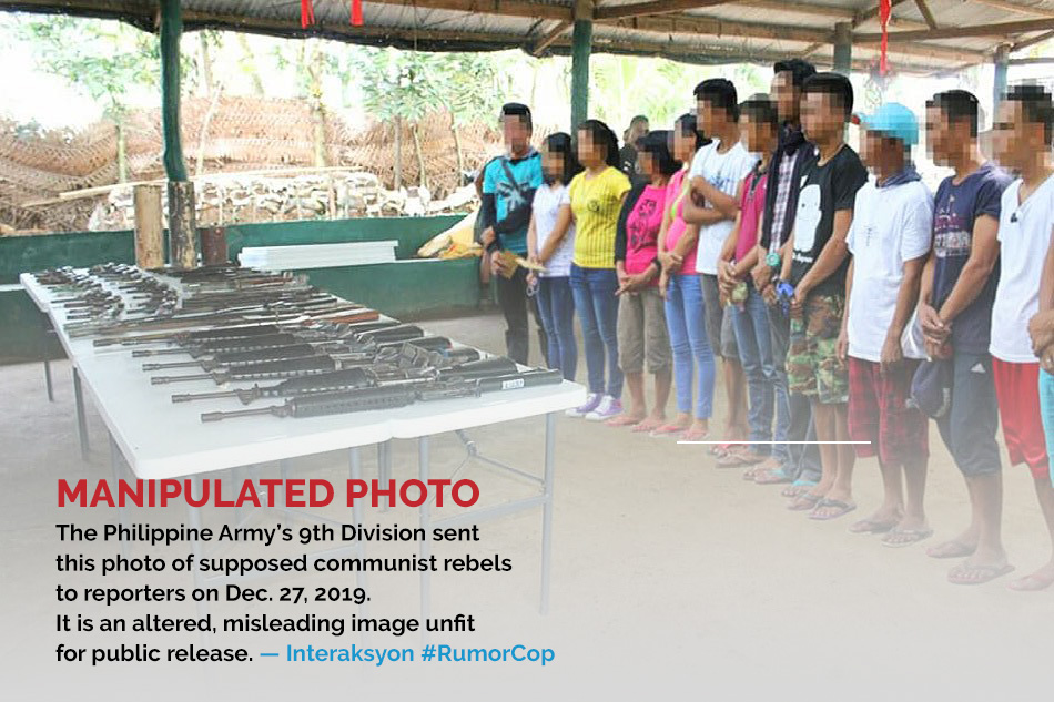 Photoshopped image released by the Philippine Army's 9th Division on Dec. 27, 2019.